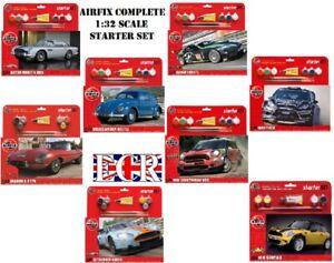 Airfix Iconique Voitures 1:3 2 Démarreur Kit Set Colle Brosse 4 Acrylique Autos