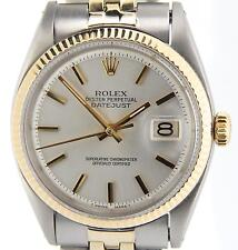 Rolex Datejust Mens 2Tone 14K Yellow Gold & Steel Watch Silver Dial Jubilee Band