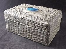 Vintage Wooden Box, Covered with a Hand Decorated Tin Skin & Central Blue Stone