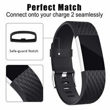 Fitbit Charge 2 BAND SILICONE Fitness Replacement Accessories Buckle LARGE Black