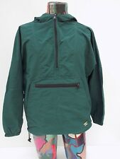 Vintage L.L. Bean Green Nylon Hooded Anorak Jacket Windbreaker size Medium