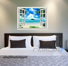 Palm Tree Beach island 3D Window View Removable Wall Sticker Decal Home decals