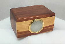 """aromatic cedar wood pet  cremation urn - 2"""" inset picture - Made in the U.S.A."""