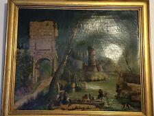 Mola di Gaeta (Formia), antico Olio su tela, epoca '600-'700, Italy,Italia,Lazio