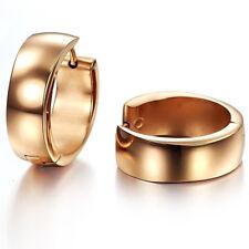 Smooth Rose Gold GP Surgical Stainless Steel Hoop Huggie Lever back Earrings