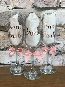 Hen Party Team Bride Rose Gold Prosecco Champagne Flute Glass Shot Glass