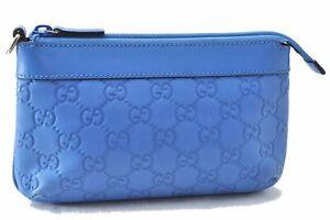 Authentic GUCCI Guccissima Pouch GG Leather 274181 Blue D9682