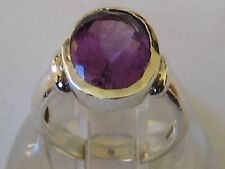 Amethyst Solitaire Ring - Uk Size J No Reserve Fine Vintage 925 Solid Silver