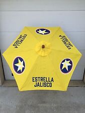 Estrella Jalisco Yellow 7 Ft Umbrella Patio Beach Market New & F/S Logo 6 Sides