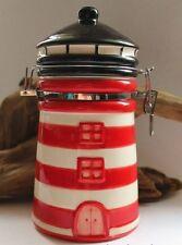 Vorratsdose maritim als Leuchtturm mit Bügelschloß Keramik rot ca. Ø 10 x 19 cm