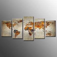 FRAMED Canvas Prints World Map Wall Art Canvas Painting -5pcs For Living Room