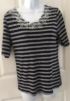 Tommy Hilfiger Womens Black White Striped Top Shirt Size Large Short Sleeves