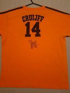 JOHAN CRUYFF CRUIJFF SIGNED NUMBER 14 RETRO NETHERLANDS SHIRT