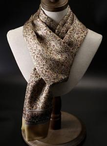 100% Silk Scarf men women neckerchief Wrap paisley floral beige yellow QS175-11