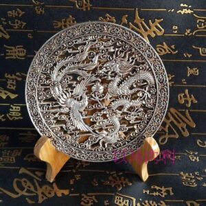 🔥 Fengshui Dragon & Phoenix luck Statue home decoration Plate metal crafts