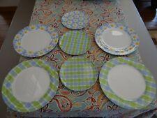 "Zak Designs Melamine 11"" Dinner & 8"" Salad Plates Daisy Flower Blue Green Plaid"