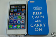 Blue Keep Calm and Carry On KCCO Hard Plastic Full Back Case for iPhone SE 5S 5