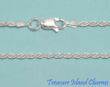 """30"""" Long Diamond Cut DC Rope .925 Solid Sterling Silver Neck Chain Necklace 2mm"""