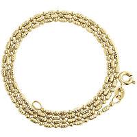 10K Yellow Gold 2mm Diamond Cut Typhoon Chain + Beaded Rice Necklace 16-24 Inch