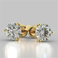 3.00 Ct Round Cut Diamond Earring Stud 14K Solid Yellow Gold Earrings  A+