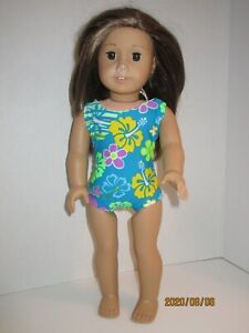 "Turquoise/Dark Flowers Swimsuit for 18"" Doll Clothes American Girl"
