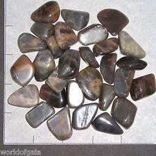 MOONSTONE Silver to Black med. long tumbled 1/2 lb bulk stones 25-35 pk gray
