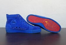 Christian Louboutin Louis Flat VV/Spikes Shoes Sneakers Suede Azzurro Size 44