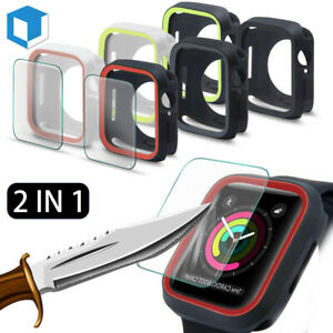 Fr Apple Watch Series 4/5/6/SE Soft Bumper Case+Tempered Glass Screen Protector