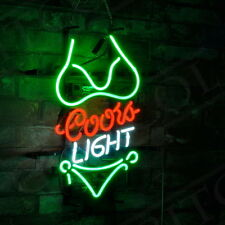 "Bikini Coors Light Vintage Artwork Neon Sign Beer Drink Bar Room Poster 17""x14"""