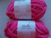 Needle Crafters Chunky acrylic yarn, Pretty Pink, lot of 2 (50 yds ea)