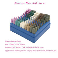 100pc Tete meule pour meule pierre abrasive sur tige pour kit rotatif Dremel