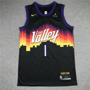 Men's Phoenix Suns Devin Booker #1 NBA Black Replica Jersey City Edition