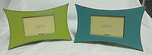 "Lime Green & Turquoise Faux Leather PIER 1 IMPORTS 3.5"" x 5"" Photo"