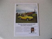 TRIUMPH SPITFIRE MK5 & SPITFIRE PLANE POSTCARD OF AN ORIGINAL ADVERT FROM 1968