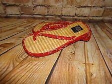 "Women's Fabric & Straw Red Bandana Flip Flops Sandals SZ 9 Yellow Box ""Breezy"""