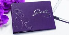 NEW Purple Silver Swirl Dots Wedding Bridal Shower Party Guest Book Q12071