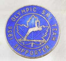 1956 Olympic Ski Team Supporter sterling silver enamlled 18mm 2.5 grams