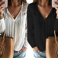 Women Sexy Long Sleeve Lace Crochet Hollow Out V Neck Casual Blouse Shirt Tops