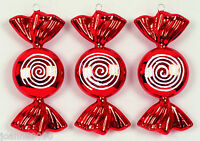 NEW 3 LARGE RED AND WHITE CANDY SWIRLY SWEETS CHRISTMAS TREE DECORATIONS FESTIVE