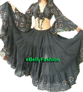 Black Cotton 25 Yard 4 Tier Skirt +Top set Gypsy Belly Dance Tie & Dye Polka dot
