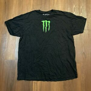 Monster Energy Drink Men's Centered Double Sided Logo T Shirt Size XL Black
