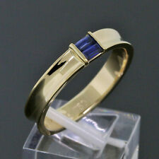 Tiffany & Co. 18K Yellow Gold Baguette Blue Sapphire Stacking Band Ring Size 11