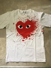 Mens Comme des Garcons PLAY T Shirt Size MEDIUM Heart Splattered Red Paint NWTAG