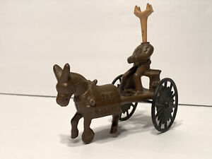 "KENTON Cast Iron HAPPY HOOLIGAN ""The Nodders"" Mule Drawn Nodder Toy Missing Hwad"