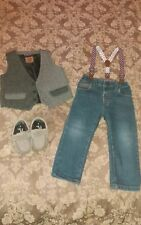 Boys Next Tweed Outfit Jeans & Waistcoat 12-18 months & Shoes * FREE UK POSTAGE