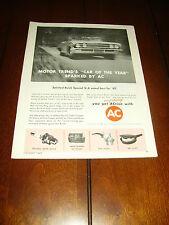 1962 BUICK V6 AC SPARK PLUGS  ***ORIGINAL VINTAGE AD*** RARE!!!