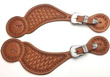 Spur Straps Matched Pair Basketweave Tooled Leather Western Engraved 2618-LL
