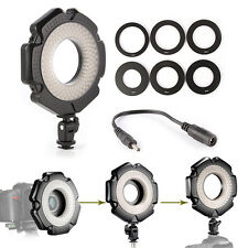 "Photography LED Macro Ring Light+Adapter Rings 1/4"" Mount For DSLR Camera Tripod"