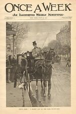 Paris France, Street Scene, Horse Drawn Coach, Vintage 1890 Antique Art Print