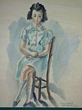 """Hermine DAVID: aquarelle """"Jeune Fille assise""""/1942/située à Lorris (Loiret)/"""